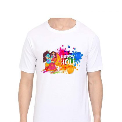 Happy Holi Round Neck Sarina Sablimation T-shirt Radhakrishna